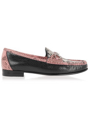 Horsebit-detailed python loafers