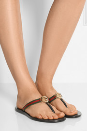 Leather and grosgrain sandals