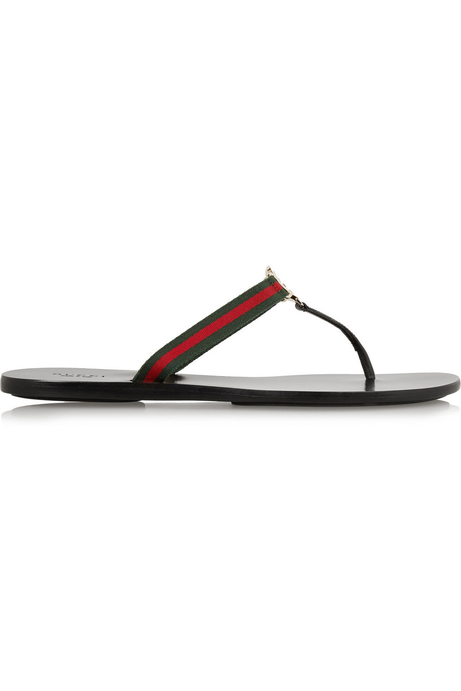 Gucci Leather and Grosgrain Sandals, Black, Women's US Size: 7, Size: 37.5