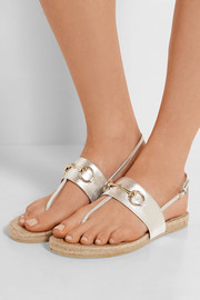 Horsebit-detailed metallic leather espadrille sandals