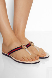 Gucci Leather and grosgrain sandals