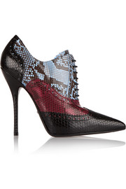 Color-block python ankle boots