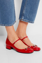 Horsebit-detailed patent-leather Mary Jane pumps