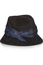 Max feather-trimmed rabbit-felt fedora
