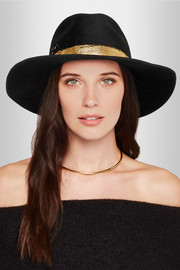 Georgina metallic-painted wool-felt fedora