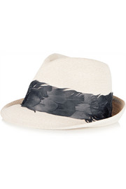 Max feather-trimmed hemp fedora