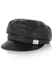 Embellished leather cap