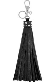 Textured-leather tassel keychain