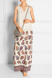 Pleated printed silk crepe de chine maxi skirt