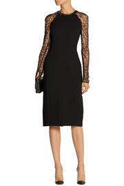 Lace-paneled crepe dress