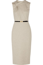 Gathered belted stretch-jersey dress