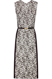 Belted jacquard-tweed and cady dress