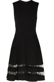 Lace-paneled stretch-ponte dress