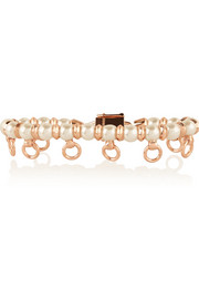 Pierced rose gold-plated faux pearl bracelet