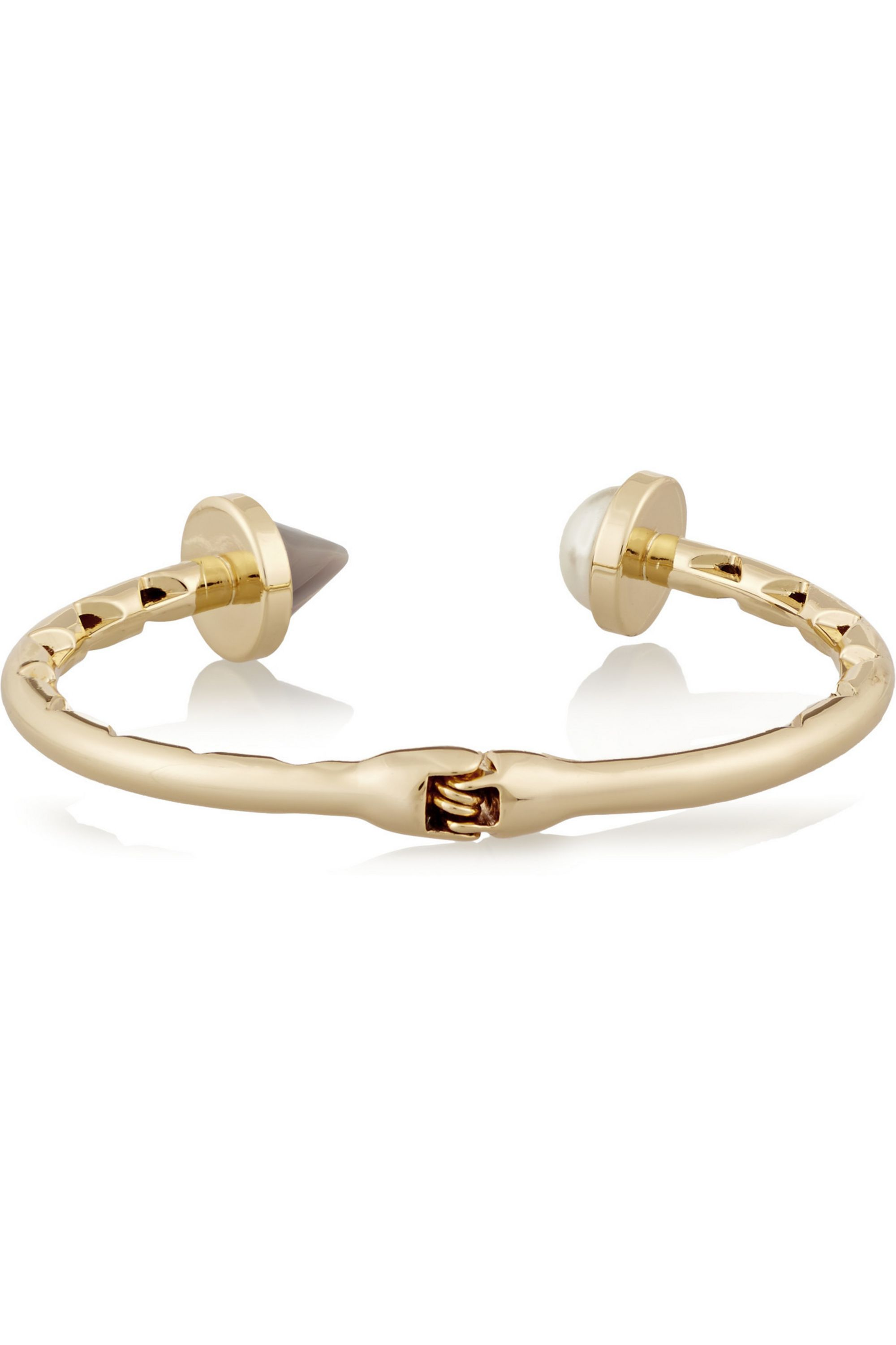 Eddie Borgo Bicone gold-plated, agate and faux pearl cuff