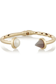 Bicone gold-plated agate and faux pearl cuff