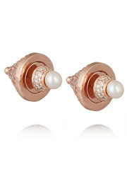 Rose gold-plated, crystal and pearl  cone earrings