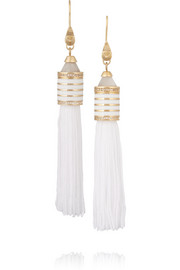 Eddie Borgo Gold-plated, agate and crystal tassel earrings