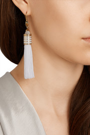 Gold-plated, agate and crystal tassel earrings