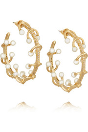 Pierced gold-plated, crystal and pearl earrings