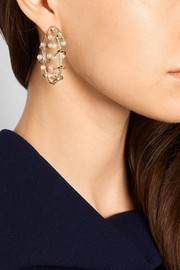 Pierced gold-plated, crystal and freshwater pearl earrings