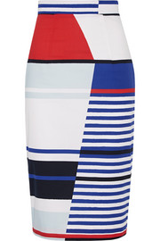 Marina striped stretch-cotton pencil skirt