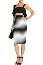 Riviera striped cotton-blend jersey pencil skirt