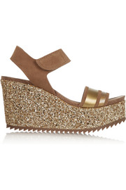 Daila glitter-finished suede wedge sandals