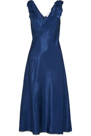 Bow-embellished satin midi dress