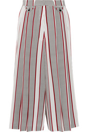 Printed pleated silk culottes