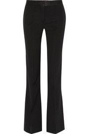 Victoria Beckham Satin-trimmed wool-gabardine flared pants