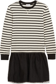 Striped jersey and point d'esprit tulle mini dress