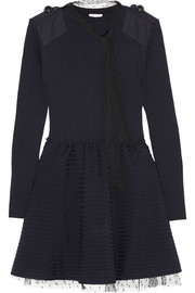 Point d'esprit tulle-trimmed wool mini dress
