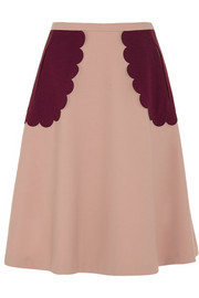 Appliquéd stretch-crepe skirt