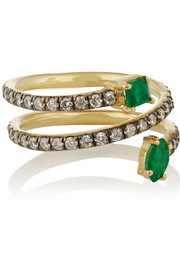18-karat gold, diamond and emerald phalanx ring