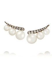 18-karat gold,  pearl and diamond earrings