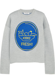 Fresh intarsia merino wool-blend sweater