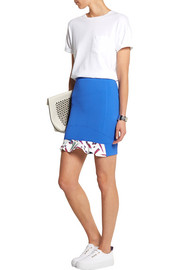 Satin-paneled puckered stretch-jersey mini skirt