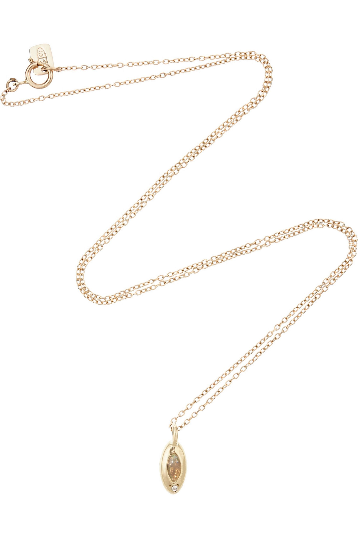 SCOSHA 10-karat gold, opal and diamond necklace
