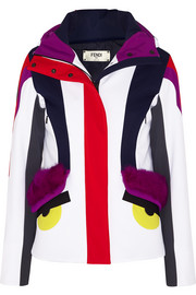 Fendi Creatures hooded shearling-trimmed stretch-shell ski jacket