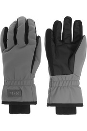 Padded twill and canvas ski gloves