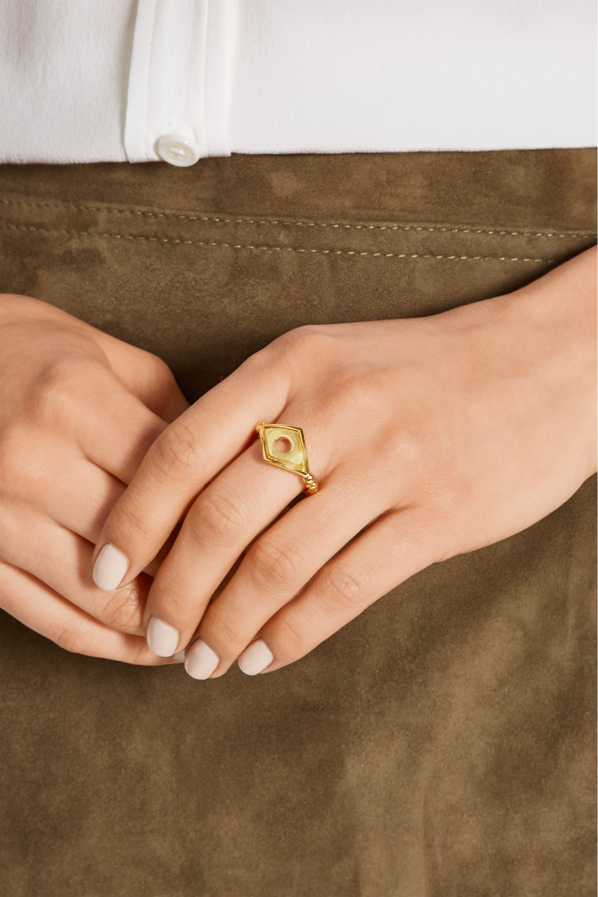 Arme De L'Amour Rhomboid gold-plated ring
