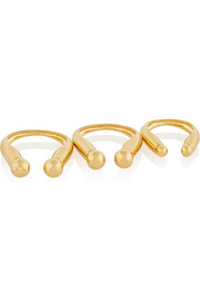 Set of three gold-plated rings