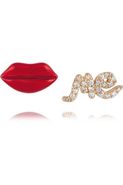 Kiss Me 14-karat gold, enamel and diamond earrings