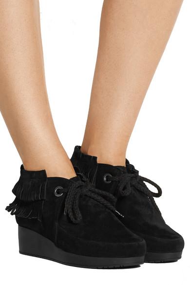 clergerie naim ankle boots aus veloursleder mit fransen. Black Bedroom Furniture Sets. Home Design Ideas
