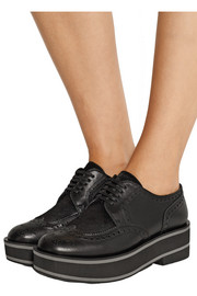 Irvina calf hair-paneled leather platform brogues