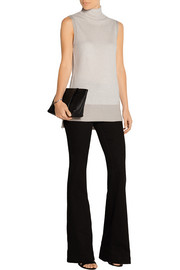 Two-tone ribbed cashmere top