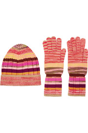 Wool-blend beanie and gloves