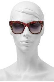 Rose-print D-frame acetate sunglasses