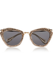 Cat-eye glittered acetate and metal sunglasses